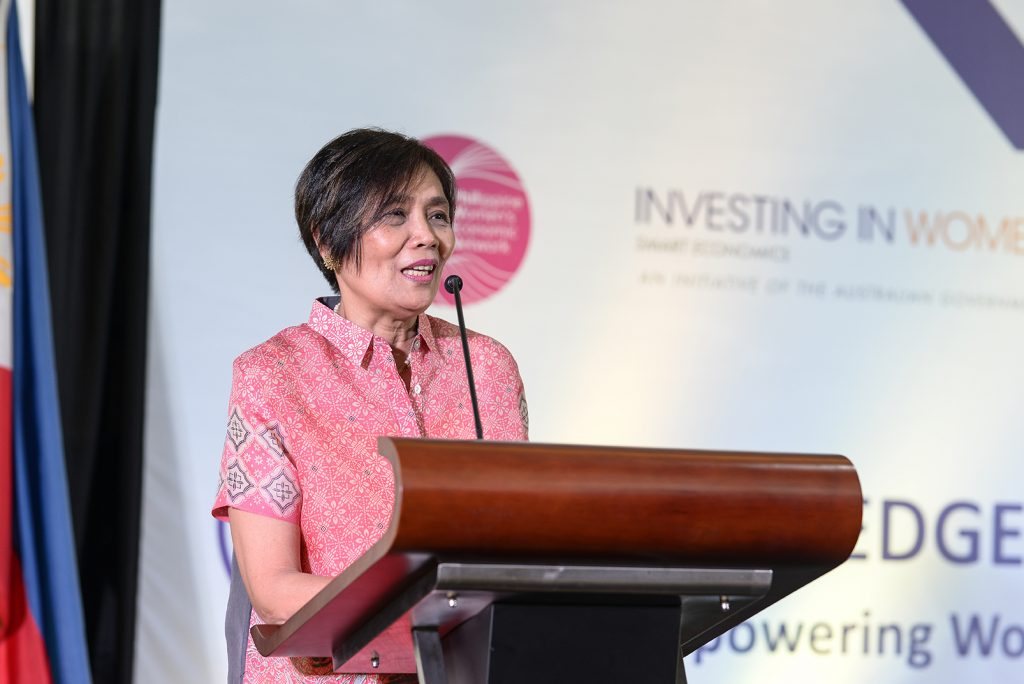 "Ms Ma Aurora ""Boots"" Geotina-Garcia, Chair of the Philippine Women's Economic Network and Co-Chair of the Philippine Business Coalition for Women Empowerment speaks during the EDGE awarding ceremony on 7 November 2018."